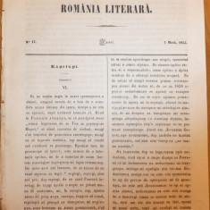 Romania literara , nr. 17 , Iasi , 1855 , texte ed. 1 de Bolintineanu , Negruzi