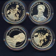 50 BANI 2017 - LOT 4 MONEDE (CAROL + ECATERINA + 2 BUC. U.E.) - Moneda Romania