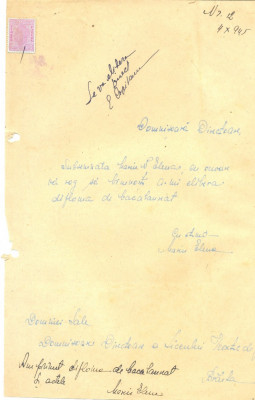 526 DOCUMENT VECHI -MARIN N. ELENA CERE ELIBERARE DIPLOMA BACALAUREAT -1945 foto