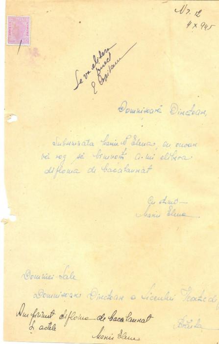 526 DOCUMENT VECHI -MARIN N. ELENA CERE ELIBERARE DIPLOMA BACALAUREAT -1945