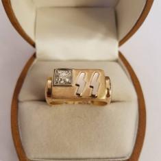 Inel Nazist cu initiale SS din aur cu diamant - Inel diamant, Carataj aur: 14k, Culoare: Galben