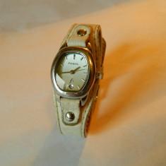 Ceas de dama Fossil din otel, cu data, cod f6 - Ceas dama Fossil, Casual, Quartz, Inox, Piele, Analog