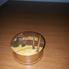 Cutie lemn gravat pictat handmade