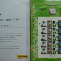 Set numismatic si filatelic Germania, 6 monede argint si 6 colite FDC, 2005, Europa