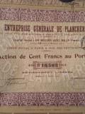 100 Franci Actiune Enterprise Generale De Planchers Franta 1925