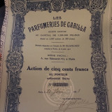 500 Franci actiune Les Parfumeries De Gabilla 1921 Franta + cupoane