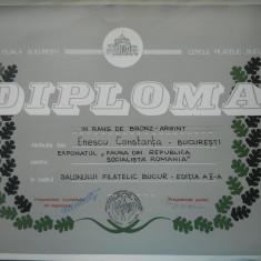 HOPCT DIPLOMA NR 80 -DIPLOMA DE ONOARE EXPO FILATELICA BUCURESTI 1985 FLORA