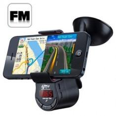 Suport auto 6 in 1 cu transmitator FM si port USB pentru telefon - Elemente montaj audio auto