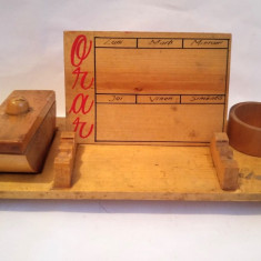 Obiect artizanat vechi romaneasc anii 70-80 suport orar, sugativa, cerneala