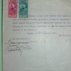 D7 TIMBRE FISCALE FERDINAND-EFIGIA IN CERC PE DOCUMENT 1929 - Timbre Romania, Stampilat