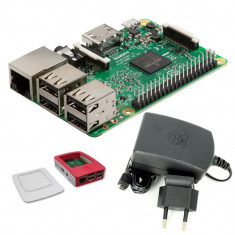 Pachet Raspberry Pi 3 Model B + Alimentator de 2.5 A, 5.1 V + Carcasă pentru Raspberry Pi Alb cu Roșu