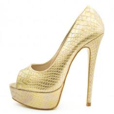 Pantofi dama, Ucu Dima, cu platforma, Cod:FWH1500-1 Gold Snake (Culoare: Auriu, Marime Incaltaminte: 39) - Pantof dama