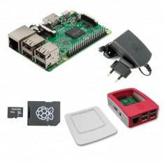 Pachet Raspberry Pi 3 Model B + Alimentator de 2.5 A, 5.1 V + Carcasă Alb cu Roșu + Card MicroSD de 16 GB cu NOOBs Original