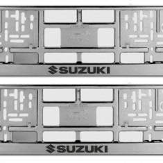 Suporti numar inmatriculare SUZUKI - CROM (set 2 buc) - Suport numar Auto