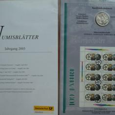 Set numismatic si filatelic Germania, 6 monede argint si 6 colite FDC, 2003, Europa