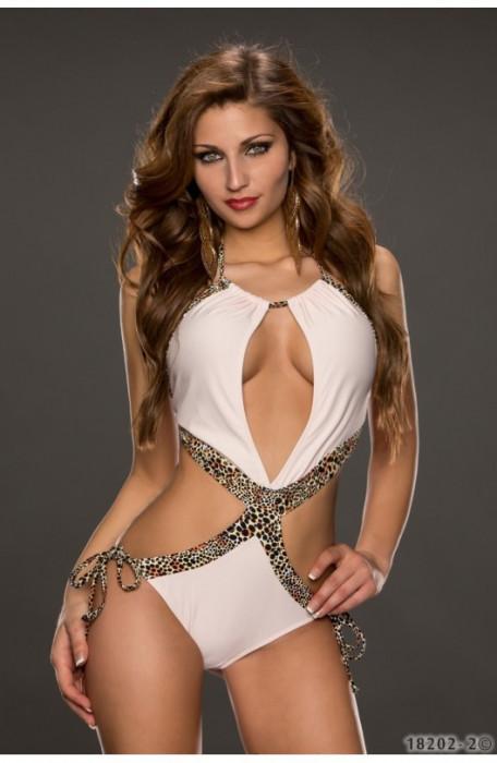 Costum de Baie cu Decupaje Sexy si Animal Print