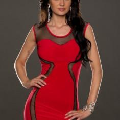 Rochie Rosie Sexy cu Insertii din Plasa