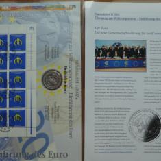 Set numismatic si filatelic Germania, 5 monede argint si 5 colite FDC, 2002, Europa