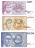 Bancnota Iugoslavia 50, 100 si 500 Dinari 1990 - P104-106 UNC ( set 3 bancnote )