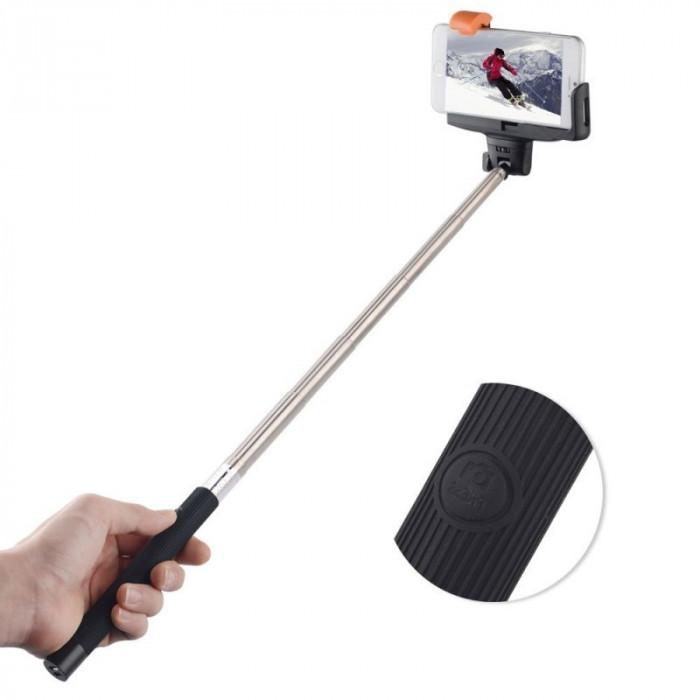 Selfie stick negru cu suport pentru telefon si buton cu bluetooth pe maner foto mare