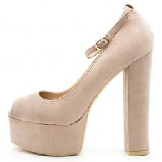 Pantofi dama cu platforma, Cod:FS-1542 Beige (Culoare: Beige, Marime Incaltaminte: 39) - Pantof dama UCU Dima, Bej