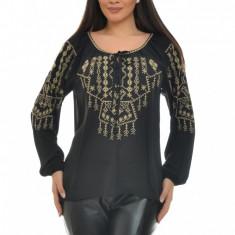Bluza Dama Tip Ie Traditionala Romanesca, IE06N, Marime: S/M, L/XL, Culoare: Negru, Maneca lunga, Voal