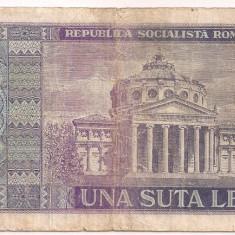 ROMANIA 100 lei 1966 SERIE 197197 F - Bancnota romaneasca