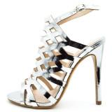 Sandale dama Argintii cu toc,Cod:KF-1 Silver (Culoare: Argintiu, Inaltime toc (cm): 12, Marime Incaltaminte: 40)