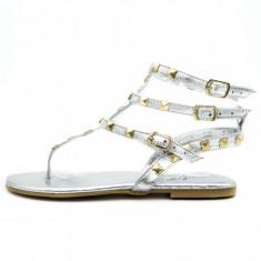 Sandale dama, talpa joasa, accesorii metalice, Ucu Dima, argintii, Cod: 35-2017 Silver (Culoare: Argintiu, Marime Incaltaminte: 39)
