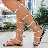Sandale dama gladiator , argintii , Ucu Dima, Cod: 40-2017 silver (Culoare: Argintiu, Marime Incaltaminte: 39)