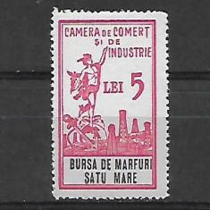 Timbru fiscal-bursa de marfuri 5 lei -Satu Mare-239 - Timbre Romania, Nestampilat