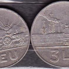 ROMANIA 1966 - LOT 2 MONEDE 1 LEU, 3 LEI - Moneda Romania