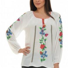 Bluza dama tip ie, brodata cu motive traditionale IE01A, Marime: S/M, L/XL, Culoare: Alb, Maneca lunga, Voal