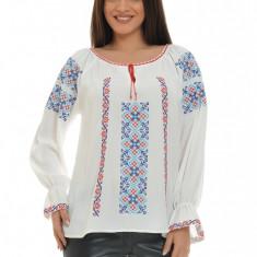 Bluza dama tip ie, brodata cu motive traditionale IE05A, Marime: S/M, L/XL, Culoare: Alb, Maneca lunga, Voal