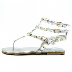 Sandale dama, talpa joasa, accesorii metalice, Ucu Dima, argintii, Cod: 35-2017 Silver (Culoare: Argintiu, Marime Incaltaminte: 38)