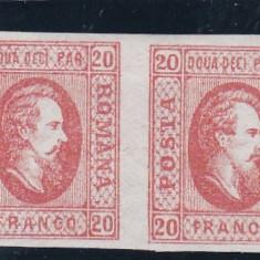 ROMANIA 1865 LP 17 CUZA EFIGIA DOMNITORULUI IN OVAL PERECHE POINCON L.PASCANU - Timbre Romania, Nestampilat