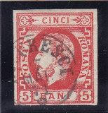 ROMANIA 1871  LP 30 a CAROL I  CU BARBA VALOAREA 5 BANI  ROSU STAMPILAT