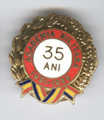 ACADEMIA MILITARA  1951-1986 Insigna email  RSR - SUPERBA foto