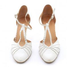Pantofi mireasa, albi, marimea 39 - Pantof dama, Cu toc