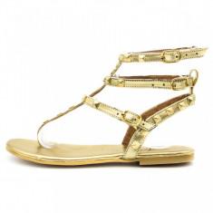 Sandale dama, talpa joasa, aurii, Ucu Dima, Cod: 35-2017 Gold (Culoare: Auriu, Marime Incaltaminte: 37)