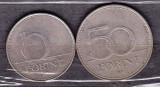 UNGARIA - LOT 2 MONEDE 10 FORINTI 1993, 50 FORINTI 1995