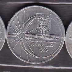 ROMANIA - LOT 3 MONEDE 500 LEI 1999, ECLIPSA, 2000 - Moneda Romania