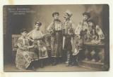 Cp TRUPA PARVULESCU DE CANTECE SI DANSURI ORIGINALE ROMANESTI - 1907,cu autograf