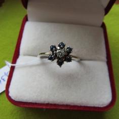 LICHIDEZ COLECTIE- INEL CU SAPHIRE SI BRILIANT - Inel diamant, Carataj aur: 18k, Culoare: Galben