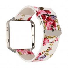 Brățară Floral din piele ecologică pentru Fitbit B Culoare Roz - Bratara fitness