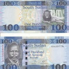 SUDANUL DE SUD 100 pounds 2017 - UNC - bancnota america