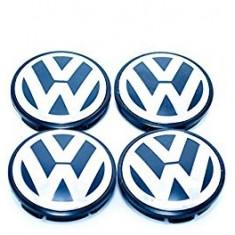 Set 4 buc. capace jante cu logo VW, Ø = 68mm (BLUE) - Capace janta