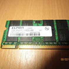 Memorie 2Gb DDR2 800Mhz laptop, Elpida 2GB 2Rx8 PC2-6400S-666 - Memorie RAM laptop