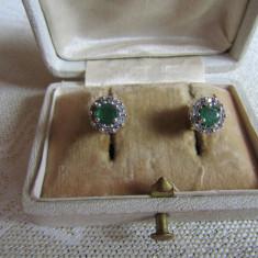 LICHIDEZ COLECTIE- CERCEI CU BRILIANTE SI SMARALDE - Cercei cu diamante