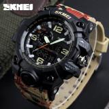 Ceas Military SKMEI 2 fusuri orare cronograf data waterproof 50M inot camuflaj, Lux - sport, Quartz, Inox